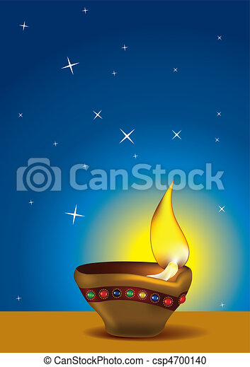 Diwali Diya with blue sky - csp4700140
