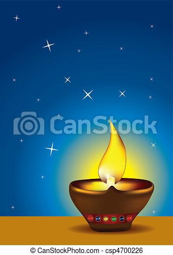 Diwali Diya with blue sky - csp4700226