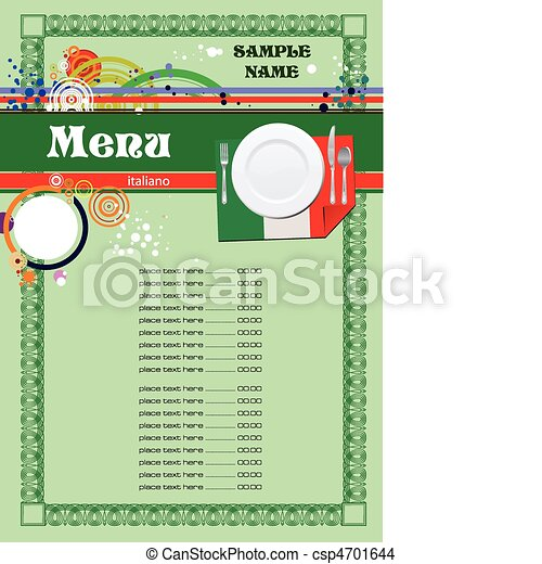 Italian Restaurant (cafe) menu - csp4701644