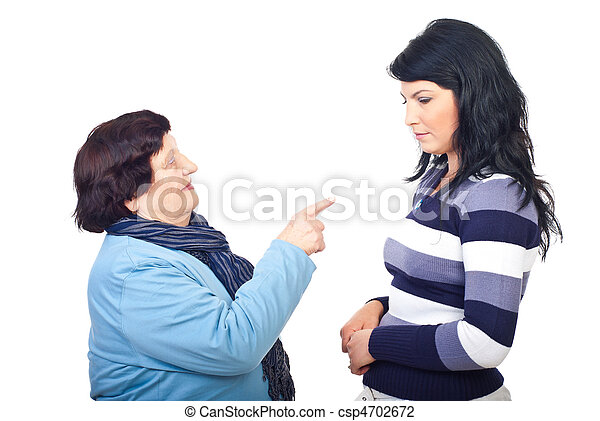 Grandmother arguing her granddaughter - csp4702672