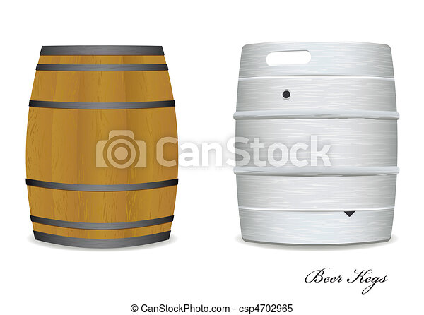 Beer Barrel Drawing Vector Beer Keg Barrel Pair
