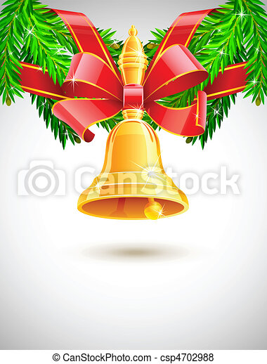 gold christmas bell with red ribbon on fir decor - csp4702988