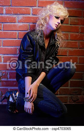blonde girl glam rocker - csp4703065