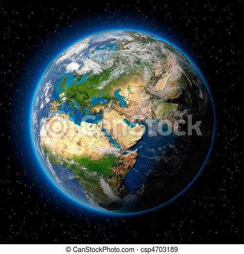 Stock illustratie van aarde ruimte planeet aarde met doorschijnend water csp4703189 - Ruimte van water kleine ruimte ...