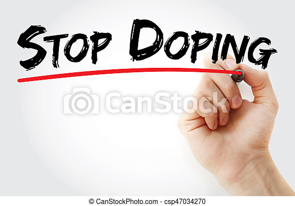 Hand writing Stop Doping with marker, health concept background