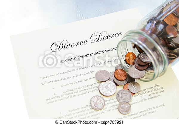 divorce legal document and spilled coin jar - csp4703921