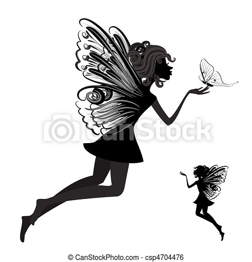 Silhouette of a fairy with butterfly - csp4704476