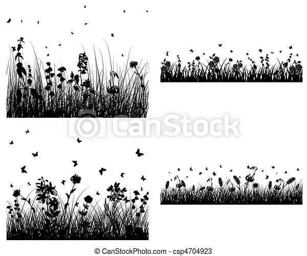 set of grass silhouettes - csp4704923