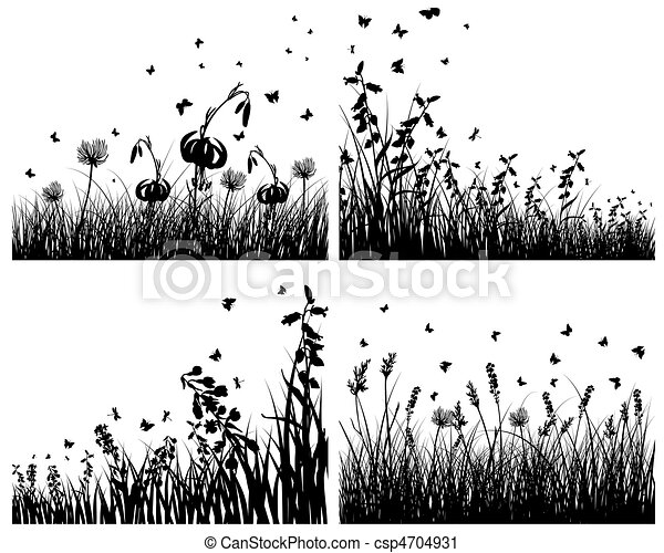set of grass silhouettes - csp4704931