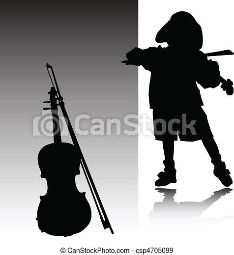Boy Playing Violin Drawing Vector Child Play Violin