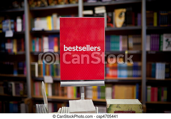 Bestsellers area in bookstore - many books in the background. - csp4705441