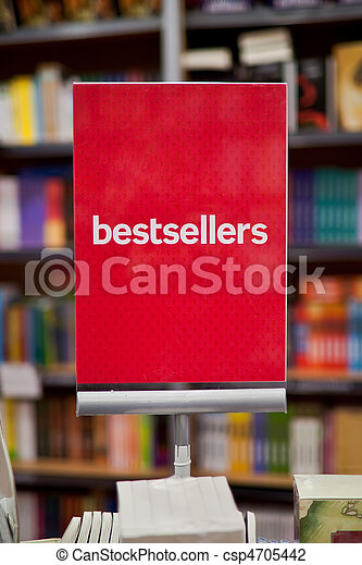 Bestsellers area in bookstore - many books in the background. - csp4705442