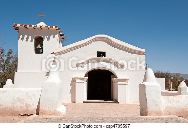 Old adobe church in the countryside of Argentina.  - csp4705597