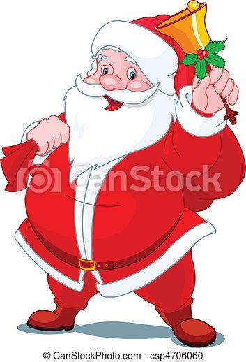 Happy Santa with bell - csp4706060