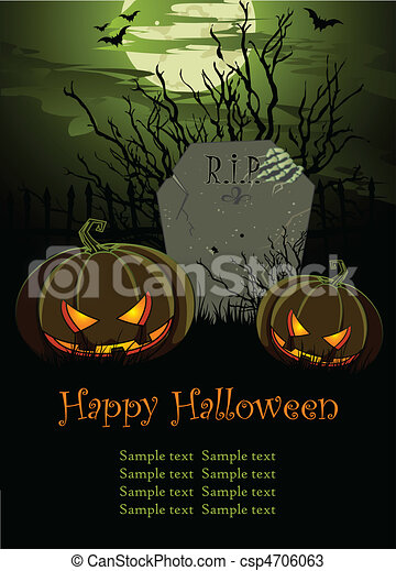 Halloween Illustration with Tombst - csp4706063