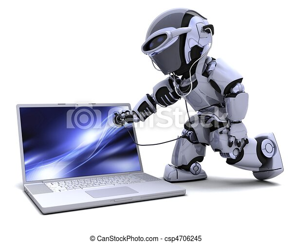 robot with computer and stethoscope - csp4706245