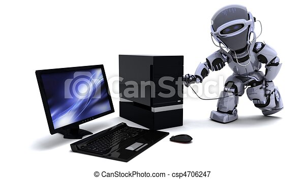 robot with computer and stethoscope - csp4706247