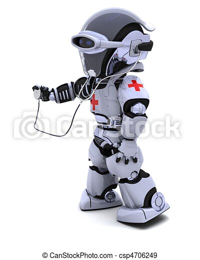 robot with stethoscope - csp4706249