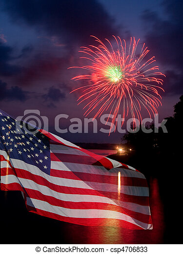 Fireworks and American Flag - csp4706833