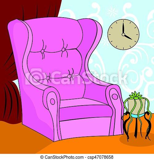 Sessel clipart  Clipart Vektor von sessel, karikatur - abbildung, von, a, rosa ...