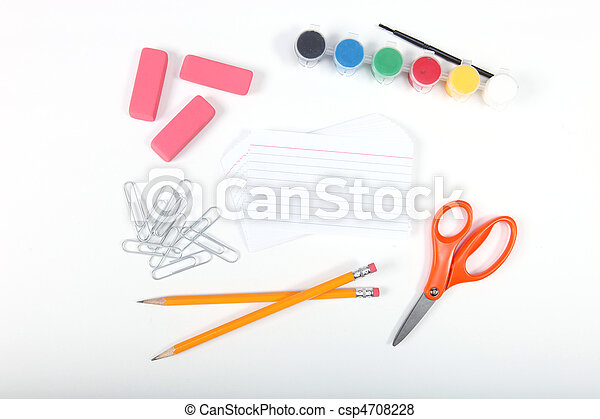 School office supplies on a white background - csp4708228