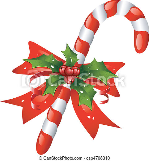 Christmas candy cane decorated with - csp4708310