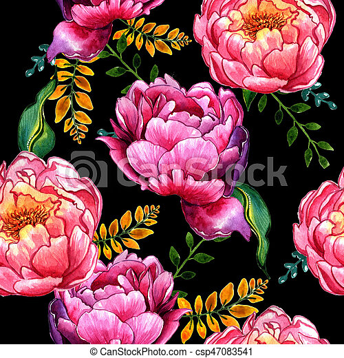 Wildflower peony flower pattern in a watercolor style isolated. - csp47083541