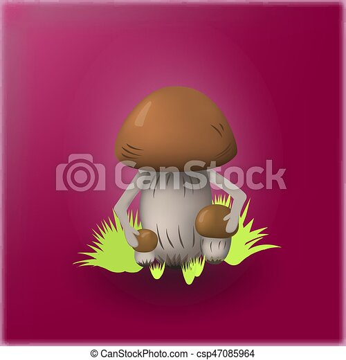 Illustration of mushrooms on a bright background - csp47085964