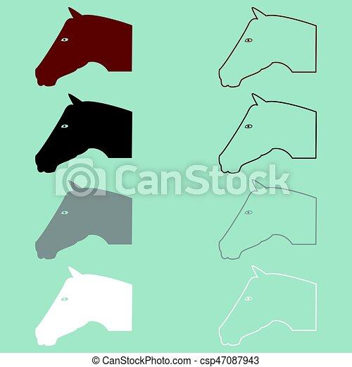 Horse head brown black grey white icon. - csp47087943