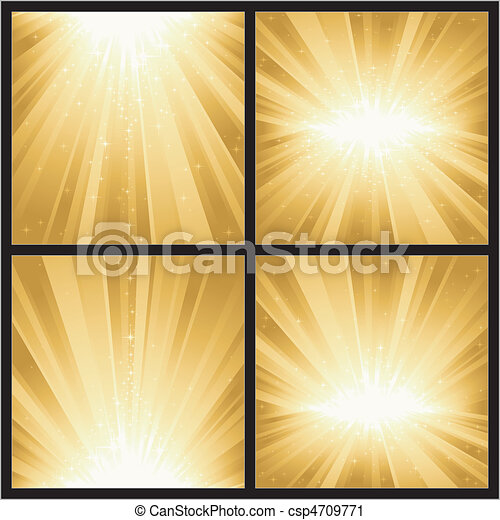 4 different golden light bursts with magic stars. Great for festive themes, like Christmas or New Years. - csp4709771