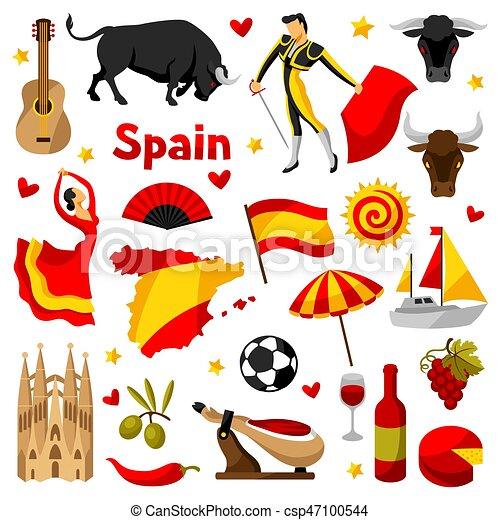 Vecteur eps de traditionnel ic nes set symboles objets espagnol csp47100544 - Dessin espagne ...