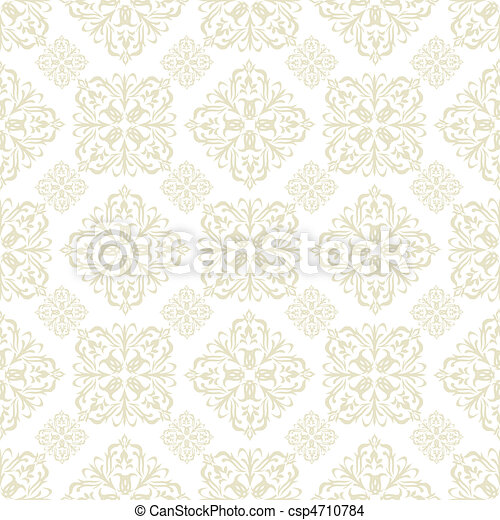 floral wallpaper beige tile - csp4710784