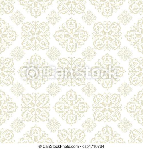 floral wallpaper beige tile - csp4710784