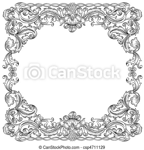 Floral ornament frame - csp4711129
