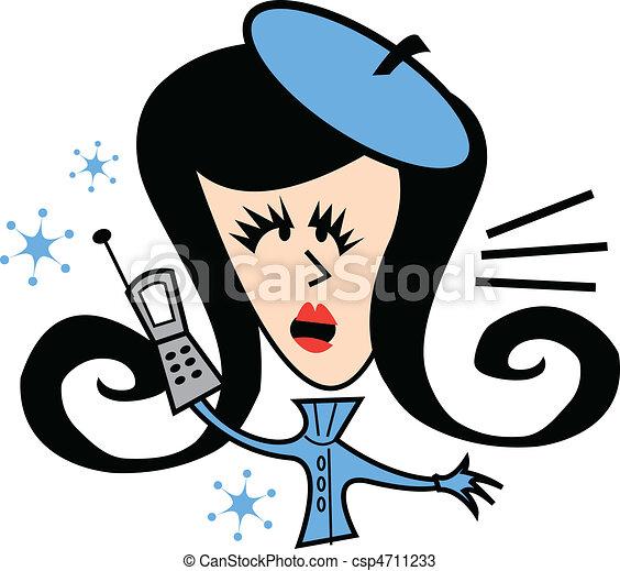 Girl On Cell Phone Clip Art - csp4711233