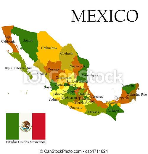 Mercator, mapa, México, bandera - csp4711624
