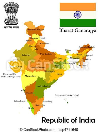 Ilustration de mapa, India - estados, unión, teritories, mapa, India ...