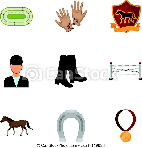 Races on horseback, hippodrome. Horse racing and equipping riders.Hippodrome and horse icon in set collection on cartoon style vector symbol stock illustration. - csp47119838