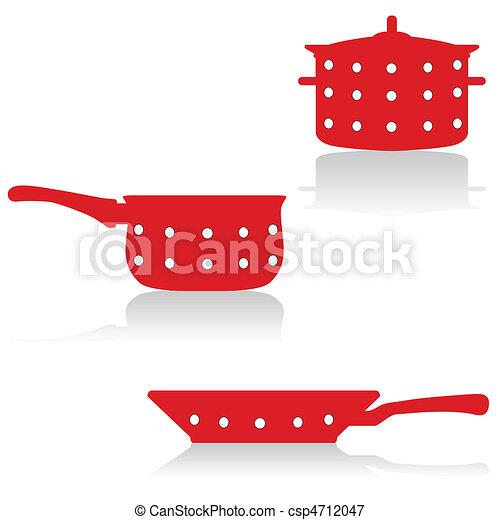 cooking utensils in red - csp4712047