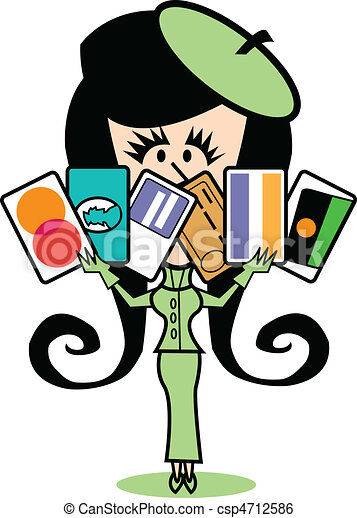 Girl With Credit Cards Clip Art - csp4712586