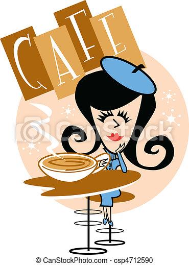 Girl In Cafe Clip Art - csp4712590