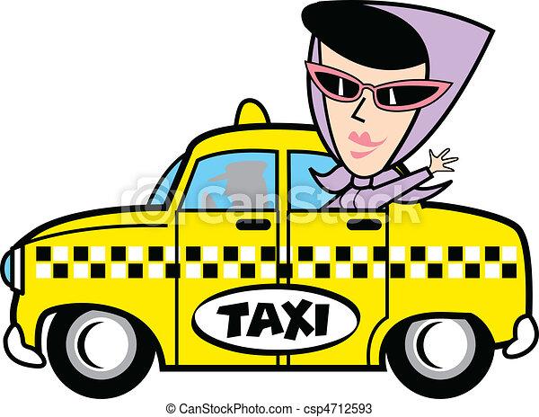 Girl In Taxi Clip Art - csp4712593