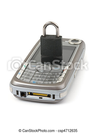 Lock and mobile phone - security concept - csp4712635