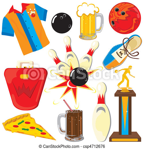 Bowling Clipart Icons and Elements - csp4712676