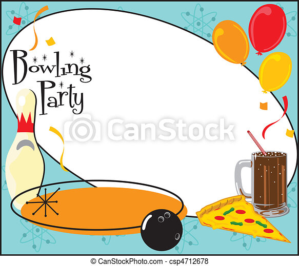 Kids Bowling Party Invitation - csp4712678