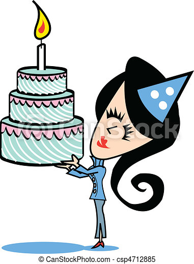 Girl With Birthday Cake Clip Art - c