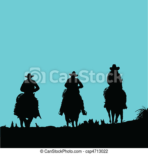 cowboy three vector silhouettes - csp4713022