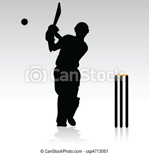 Vector Clip Art of cricket players in action vector illustration ...