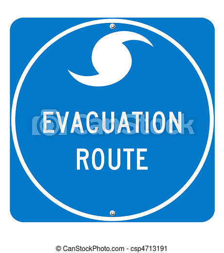Hurricane Evacuation Route Sign - csp4713191