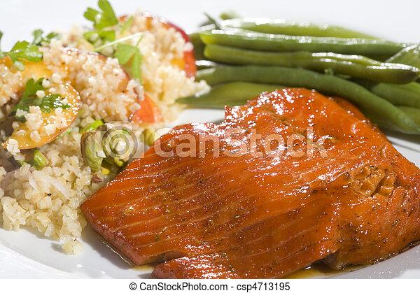Gourmet Salmon Dinner - csp4713195